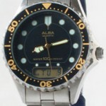 photo of Nos vintage ladies Alba dive digital/analog watch front view sm