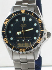 photo of Nos vintage ladies Alba dive digital/analog watch front view sm