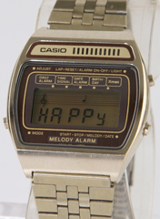 photo of vintage-casio-melody-alarm-gold-h104G front view 1 sm