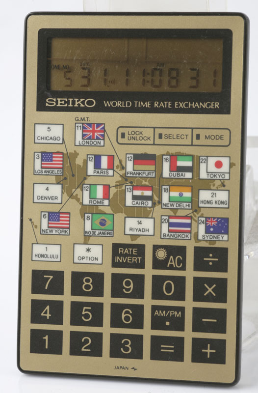 vintage seiko world time  rate exchanger calculator
