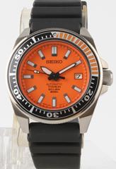 photo of nos-seiko-samurai-titanium-7S25-orange-dial front view sm