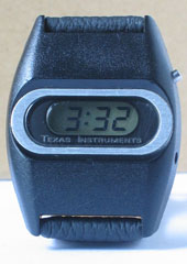 photo of vintage-texas-instruments-digital-watch-space-age-look front view sm