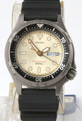 photo of nos-vintage-seiko-diver's-titanium-7C43-6A00 front view sm