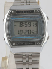 photo of vintage-citizen-P100-digital watch front view sm